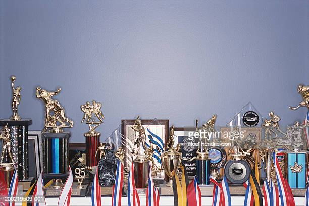 sports trophy collection on shelf - trophy stock pictures, royalty-free photos & images