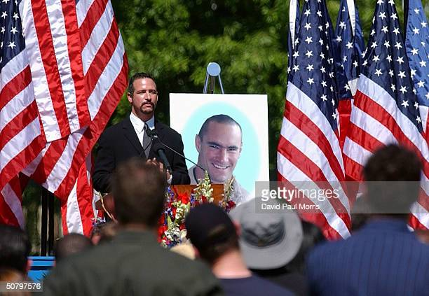Sports TV and radio host Jim Rome speaks at a memorial service for Cpl Pat Tillman who was killed in action in Afghanistan April 22 at the San Jose...