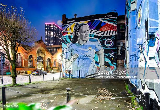Sports unveil a mural featuring Manchester City players Phil Foden and Georgia Stanway in Manchester on November 20, 2020 in Manchester, England.