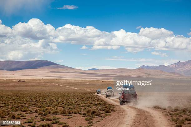 Sports Utility Vehicle Drinving in the Bolivian Altiplano