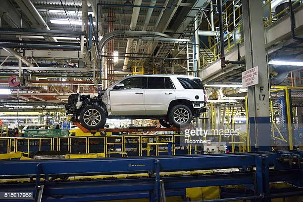 A sports utility vehicle moves down the production line at the General Motors Co assembly plant in Arlington Texas US on Thursday March 10 2016 The...