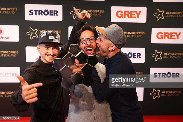 Sports winner Sebastian Linda and Team during the Webvideopreis Deutschland 2016 at Castello on June 4 2016 in Duesseldorf Germany