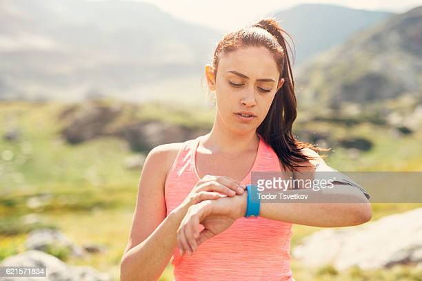 Sports woman in the mountain