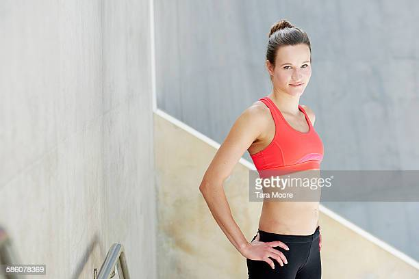 sports woman looking to camera