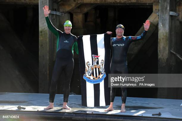 Sports writer Henry Winter with experienced open water swimmer Tony Greener after swimming the River Tyne in aid of the Sir Bobby Robson Foundation...