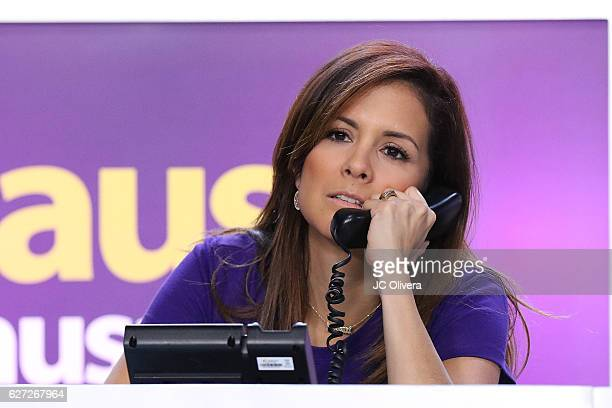 Sportscaster Adriana Monsalve answers calls during TeletonUSA 2016 at Orpheum Theatre on December 2 2016 in Los Angeles California