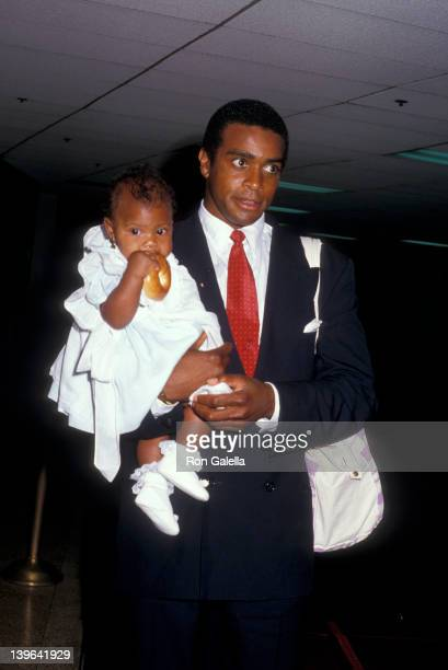 Sportscaster Ahmad Rashad and daughter Condola Rashad attending 'NBC Affiliates Party' on June 2 1987 at the Century Plaza Hotel in Century City...
