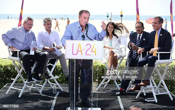 Sportscaster Al Michaels speaks on a stage at the Annenberg Beach House in Santa Monica California on September 1 2015 Los Angeles joined the race to...