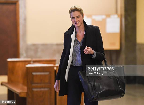 Sportscaster and television host Erin Andrews leaves the courthouse on March 3 2016 in Nashville Tennessee