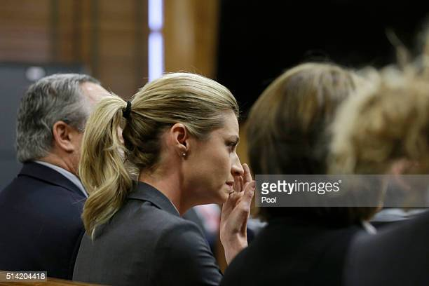 Sportscaster and television host Erin Andrews reacts March 7 in Nashville Tennessee Andrews was awarded USD 55 million dollars by unanimous jury...