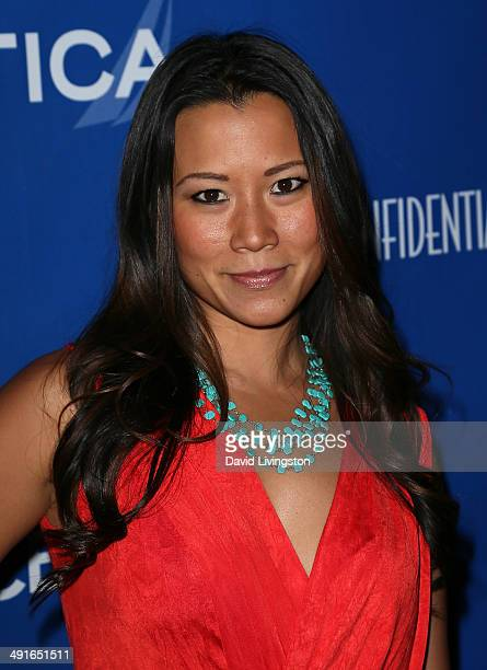Sportscaster Angela Sun attends the Nautica and LA Confidential's Oceana Beach House Party at the Marion Davies Guest House on May 16 2014 in Santa...