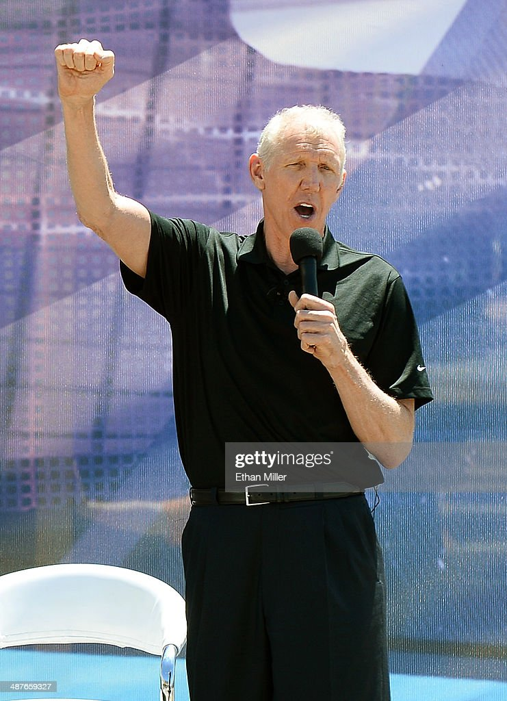 Sportscaster Bill Walton speaks during a groundbreaking for a USD 375 million, 20,000-seat sports and entertainment arena being built by MGM Resorts International and AEG on May 1, 2014 in Las Vegas, Nevada. The arena is scheduled to open in early 2016.