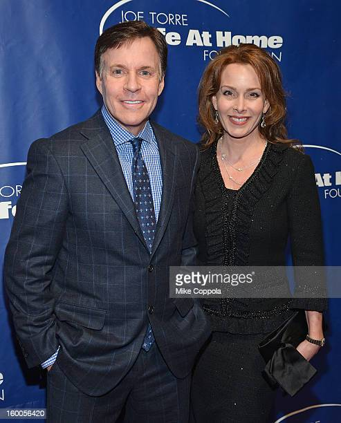 Sportscaster Bob Costas and Jill Sutton attend Joe Torre's Safe At Home Foundation's 10th Anniversary Gala at Pier 60 on January 24 2013 in New York...