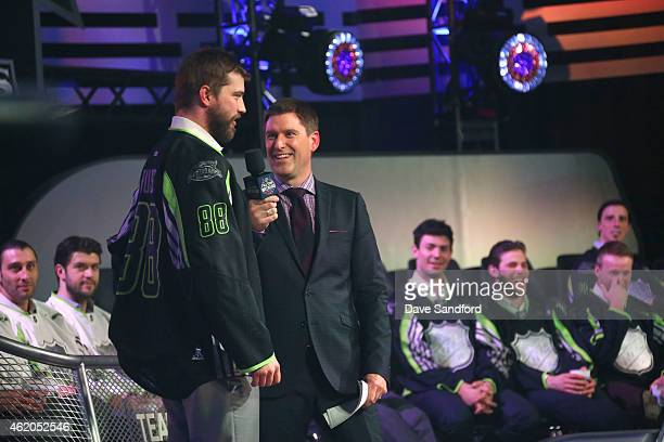 Sportscaster Daren Millard and Brent Burns of the San Jose Sharks of Team Foligno speak onstage during the 2015 NHL AllStar Fantasy Draft as part of...