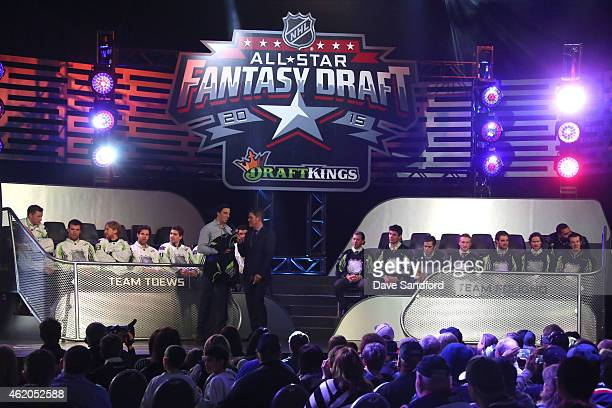 Sportscaster Daren Millard and MarcAndre Fleury of the Pittsburgh Penguins of Team Foligno speak onstage during the 2015 NHL AllStar Fantasy Draft as...