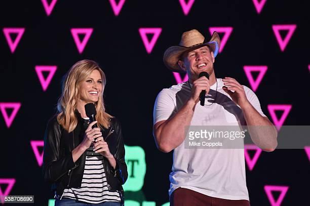 Sportscaster Erin Andrews and football player J.J. Watt speak on stage during rehearsals at Bridgestone Arena on June 7, 2016 in Nashville, Tennessee.