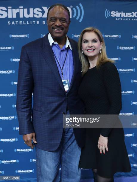 Sportscaster James Brown and Victoria Osteen visit the SiriusXM set at Super Bowl LI Radio Row at the George R Brown Convention Center on February 3...