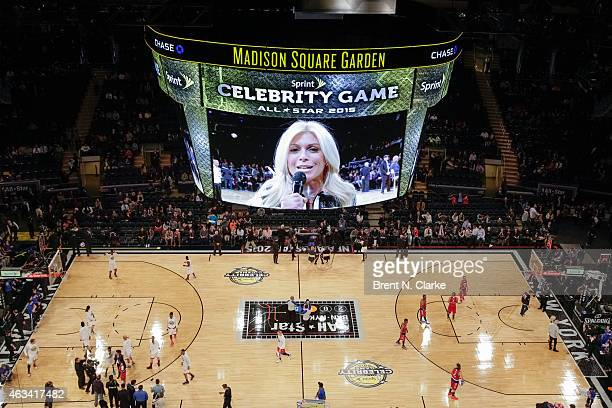 Sportscaster Jill Martin appears on the jumbotron during the NBA AllStar Celebrity Game 2015 at Madison Square Garden on February 13 2015 in New York...