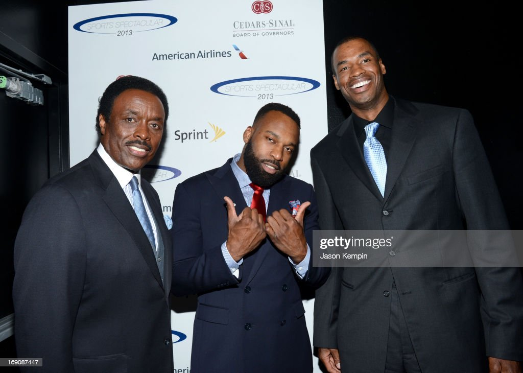 Sportscaster Jim Hill and pro basketball players Baron Davis and honoree Jason Collins attend the 28th Anniversary Sports Spectacular Gala at the Hyatt Regency Century Plaza on May 19, 2013 in Century City, California.