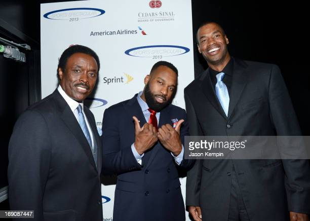 Sportscaster Jim Hill and pro basketball players Baron Davis and honoree Jason Collins attend the 28th Anniversary Sports Spectacular Gala at the...