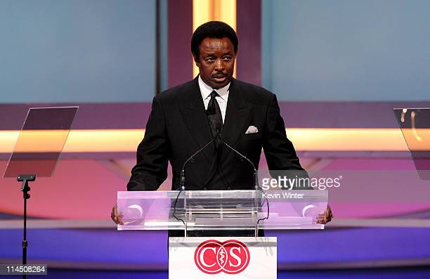 Sportscaster Jim Hill speaks onstage during the 2011 Cedars Sinai Sports Spectacular at Hyatt Regency Century Plaza on May 22 2011 in Beverly Hills...