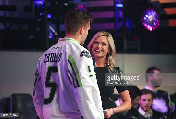 Sportscaster Kathryn Tappen and Aaron Ekblad of the Florida Panthers of Team Toews speak onstage during the 2015 NHL AllStar Fantasy Draft as part of...