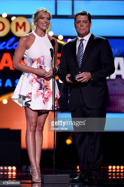 Sportscaster Kathryn Tappen and former NHL player Pat LaFontaine present an award during the 2015 NHL Awards at MGM Grand Garden Arena on June 24,...