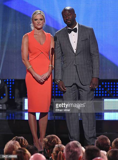 Sportscaster Kathryn Tappen and hockey analyst Anson Carter speak during the 2016 NHL Awards at The Joint inside the Hard Rock Hotel Casino on June...