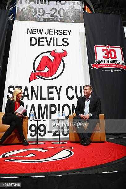 Sportscaster Kathryn Tappen interviews Martin Brodeur during the New Jersey Devils announcment to retire Martin Brodeur's number at Prudential Center...