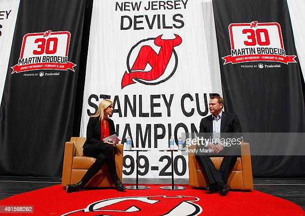 Sportscaster Kathryn Tappen interviews Martin Brodeur during the New Jersey Devils announcment retiring Martin Brodeur's number at Prudential Center...