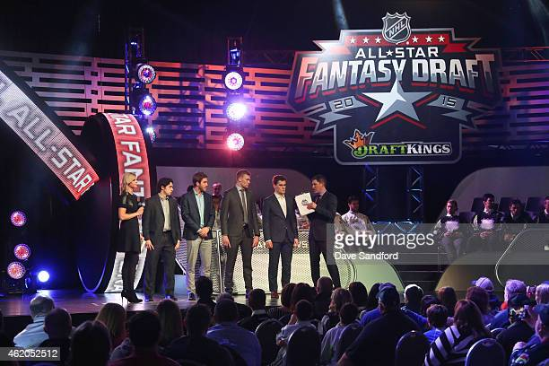 Sportscaster Kathryn Tappen Johnny Gaudreau of the Calgary Flames Filip Forsberg of the Nashville Predators Jiri Sekac of the Montreal Canadiens...