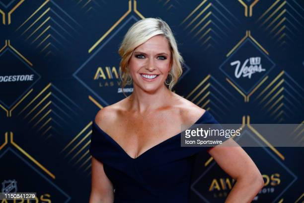 Sportscaster Kathryn Tappen poses for photos on the red carpet during the 2019 NHL Awards at Mandalay Bay Resort and Casino on June 19 2019 in Las...