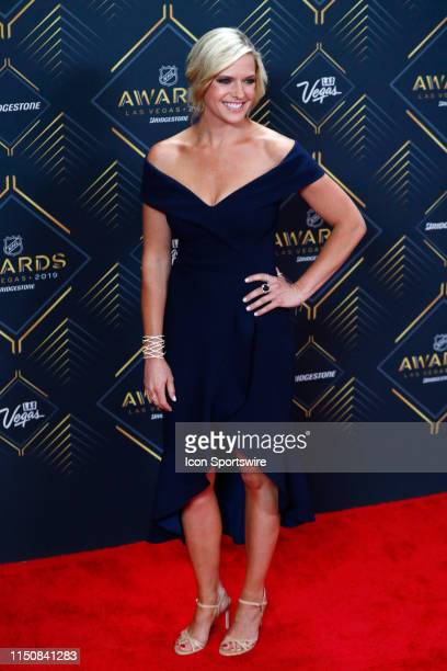 Sportscaster Kathryn Tappen poses for photos on the red carpet during the 2019 NHL Awards at Mandalay Bay Resort and Casino on June 19, 2019 in Las...