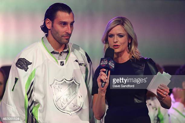 Sportscaster Kathryn Tappen speaks onstage with Roberto Luongo of the Florida Panthers of Team Toews during the 2015 NHL AllStar Fantasy Draft as...