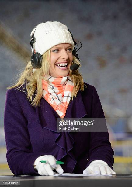 Sportscaster Kathryn Tappen talks with panelists during NHL Live at the 2014 Bridgestone NHL Winter Classic on December 30 2013 at Michigan Stadium...