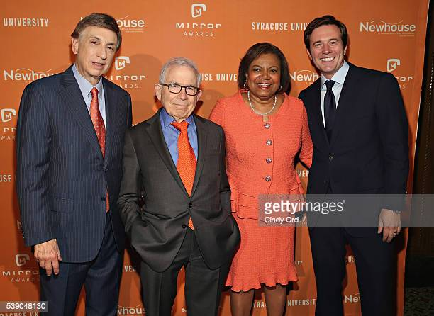 Sportscaster Marv Albert President of Advance Publications Donald Newhouse Dean at SI Newhouse School of Public Communications Lorraine Branham and...