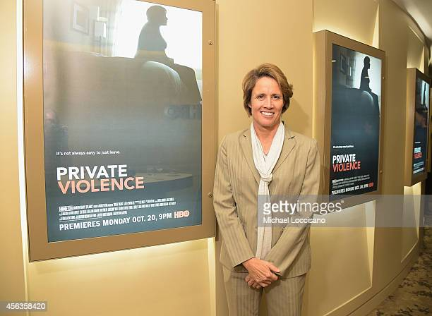 Sportscaster Mary Carillo attends the New York special screening of the HBO Documentary Private Violence at HBO Theater on September 29 2014 in New...