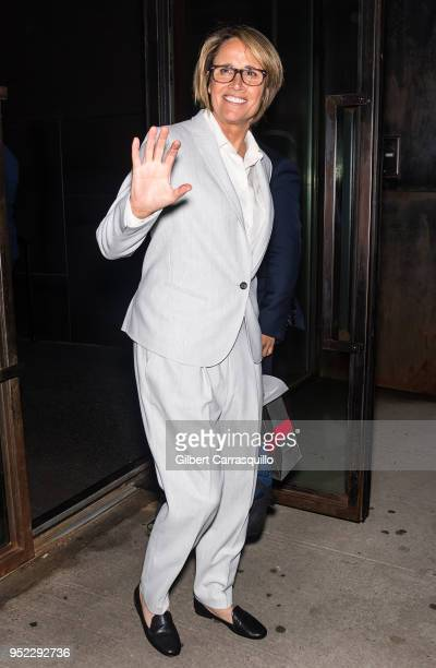 Sportscaster Mary Carillo is seen leaving Tribeca Talks The Journey with Sarah Jessica Parker during the 2018 Tribeca Film Festival at Spring Studios...