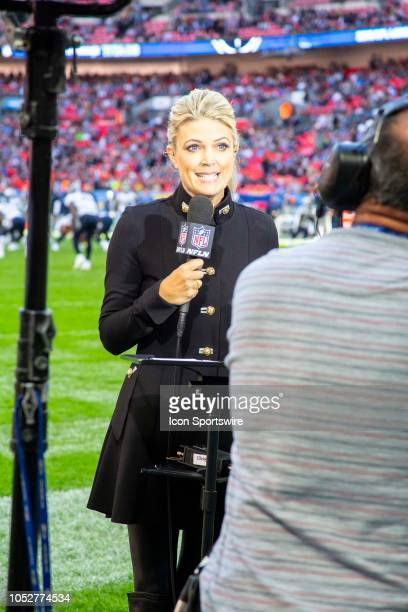 Sportscaster Melissa Stark broadcasts before the NFL game between the Tennessee Titans and the Los Angeles Chargers on October 21 2018 at Wembley...
