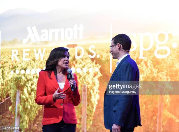 Sportscaster Michele Tafoya hosting the Marriott International Loyalty Member Preview Event with Marriott's David Flueck at Spring Studios on April...