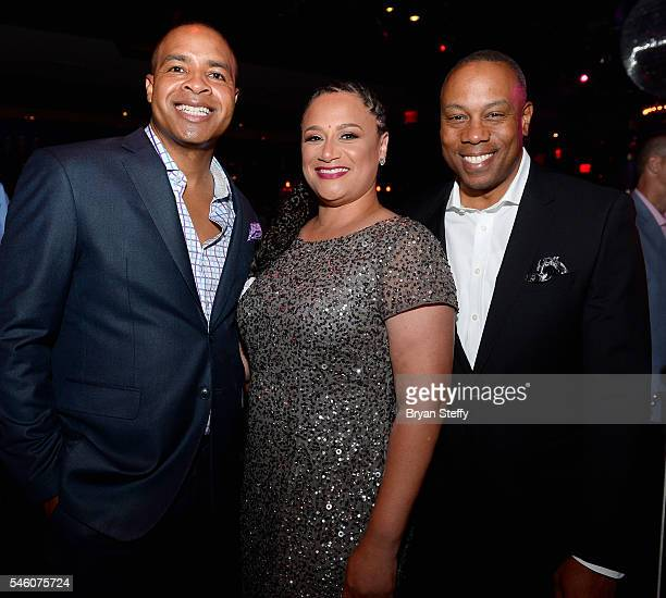 Sportscaster Mike Hill Stephanie Harris and ESPN analyst Jay Harris attend the Coach Woodson Las Vegas Invitational red carpet and pairings party at...