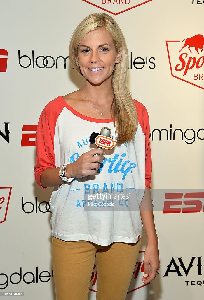 Sportscaster Samantha Ponder poses for a picture as Sportiqe and ESPN host a NBA Playoff Party at Bloomingdale's 59th Street Store on April 25, 2013 in New York City.