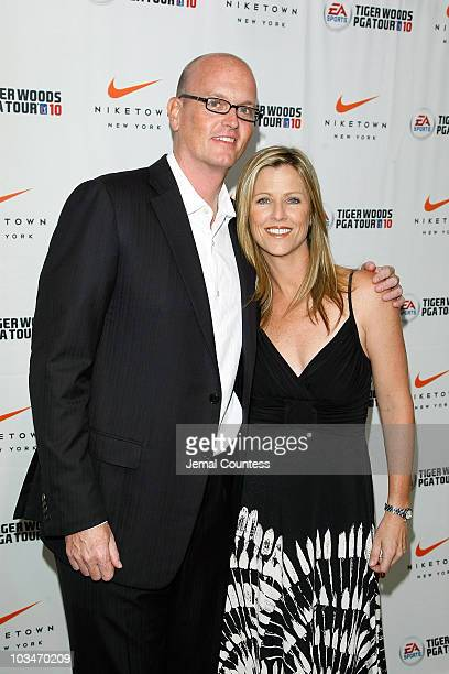 Sportscaster Scott Van Pelt and Kelly Tilghman attend the EA SPORTS' celebration for the release of 'Tiger Woods PGA TOUR 10' for Wii at NikeTown on...
