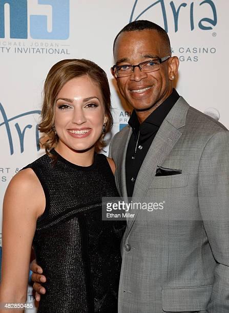 ESPN sportscaster Stuart Scott and wife Kim Scott arrive at the 13th annual Michael Jordan Celebrity Invitational gala at the ARIA Resort Casino at...