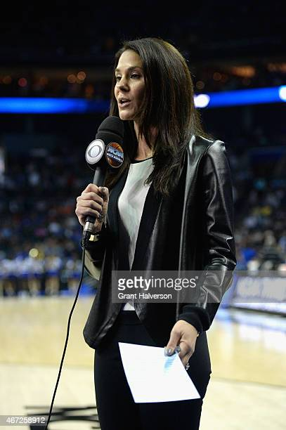 Sportscaster Tracy Wolfson in action during the third round of the 2015 NCAA Men's Basketball Tournament at Time Warner Cable Arena on March 22 2015...