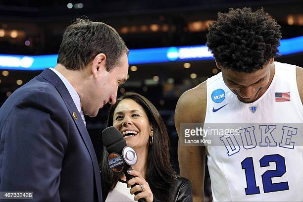 CBS sportscaster Tracy Wolfson interviews Head Coach Mike Krzyzewski and Justise Winslow of the Duke Blue Devils following a game against the San...
