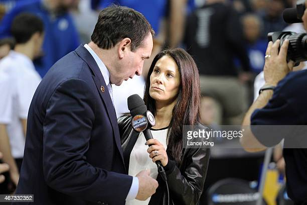 CBS sportscaster Tracy Wolfson interviews Head Coach Mike Krzyzewski of the Duke Blue Devils during a game against the San Diego State Aztecs during...