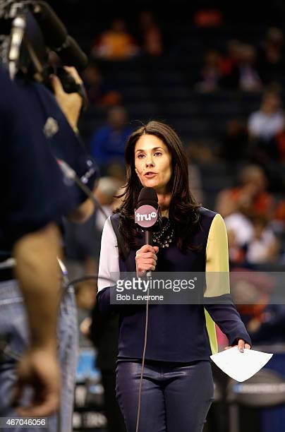 CBS sportscaster Tracy Wolfson reports during the game between the Georgia Bulldogs and Michigan State Spartans during the second round of the 2015...
