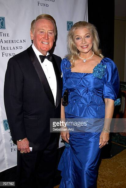 Sportscaster Vin Scully and his wife Sandra attend the American Ireland Fund Gala April 17, 2002 in Los Angeles, CA.