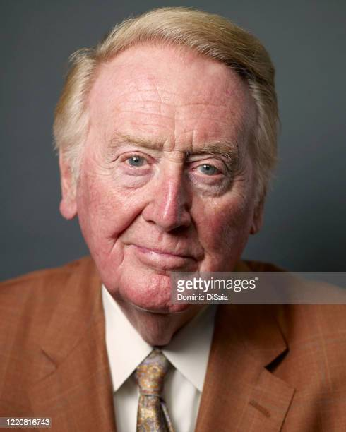 Sportscaster Vin Scully is photographed for ESPN.com at Dodger Stadium on June 4, 2013 in Los Angeles, California.